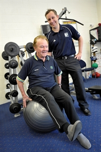 Course participant George O'Donnell and accredited exercise physiologist Clinton Joynes.