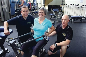 Living Longer Living Stronger participant Dee Bickley with Accelerate Exercise Rehabilitation exercise physiologist Clinton Joynes and City of Mandurah gym instructor Gary Cummins.